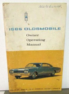Find Original 1965 Oldsmobile Owners Manual Ninety-Eight Starfire Delts Dynamic 88 motorcycle in Holts Summit, Missouri, United States, for US $16.65