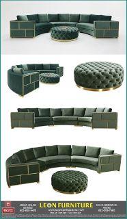 Shop Luxury Divani Casa Ritner Modern Green Velvet Circular Sectional Sofa