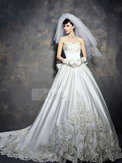 Ball Gown Strapless Sweetheart Neckline Chapel Satin Wedding Dress