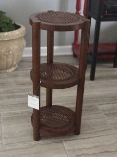 3 TIER WOOD AND WICKER STAND/TABLE - NEW WITH TAGS