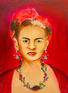 Frida Kahlo Painting Vintage Outsider Folk Art