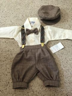 Bnwt. 6 months. Boys dress outfit with hat suspenders and bow tie