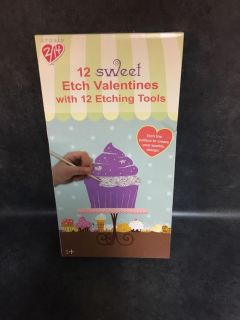 NIB 12 sweet Etch Valentines with 12 Etching Tools