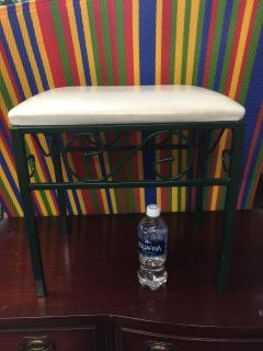 Small vanity stool, use as is or can be recovered (see picture of seat)
