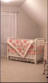 Crib, mattress and bedding $200
