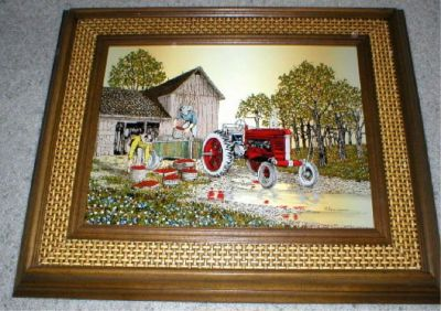 Apple Harvest Vtg Art - Silk Screen - Signed w/Certificate - H. Hargrove