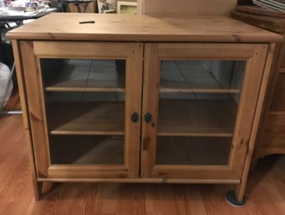 Modern entertainment cabinet, wood and glass+ key