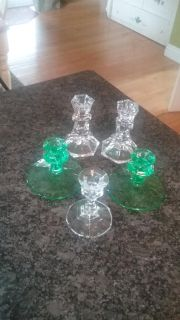 Lot of crystal and glass candle holders