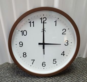 CLEARANCE SALE!! Infinity Instruments Walnut finished Clock with large numbers
