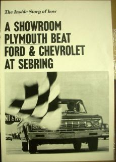 Buy 1964 Plymouth Fury V-8 Beats Ford and Chevrolet at Sebring ORIGINAL Brochure motorcycle in Holts Summit, Missouri, United States