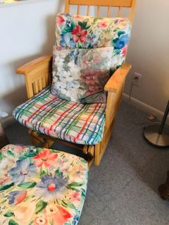 Colorful wooden chair with foot stool
