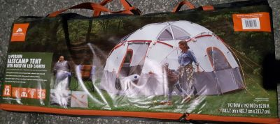 12 PERSON BASECAMP TENT W/BUILT-IN LED LIGHTS