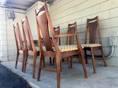 Set of (6) Midcentury Sculptural Dining Chairs