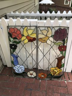 Pair Stain Glass Panels