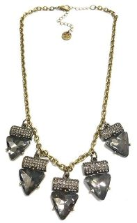 """DUE BY MAY 4! SWEET LOLA BOUTIQUE 16-19""""L ANTIQUED BRONZE MOUNTED PAVE CRYSTALS 5 TRIANGLE BLACK DIAMOND CRYSTAL DROPS, LOVELY!"""