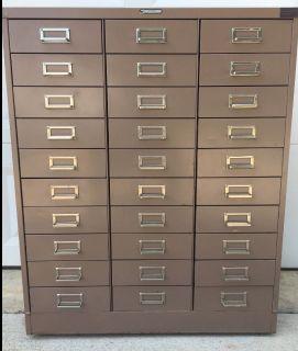 1950's Powder Coat Enameled 30 Drawer Cabinet