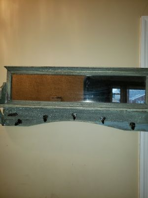 Shelf with antiqued glass and hooks