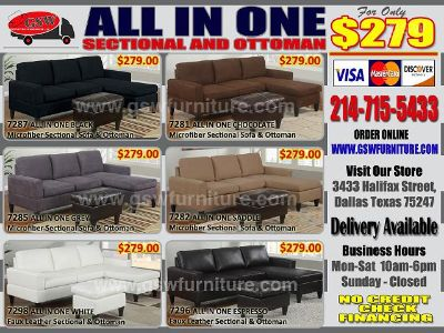 $279, All in one white faux leather sectional sofa  ottoman