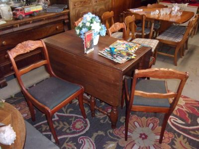 Hard Wood Drop Leaf Table With Four Rose Back Chairs