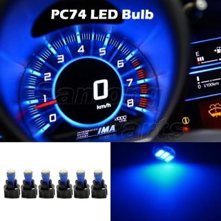 Sell 6 Pack PC74 Twist Lock 1206 3-SMD Instrument Cluster Dash Led Light Bulb Blue motorcycle in Cupertino, CA, US, for US $10.99