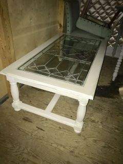Leaded glass coffee table
