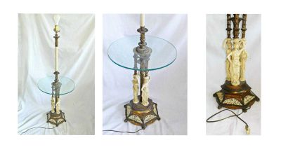 Floor Lamp Table Hollywood Regency Furniture Brass
