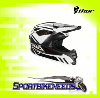 Purchase Thor 2012 Force Carbon Helmet Black White X-Small XS motorcycle in Elkhart, Indiana, US, for US $429.95