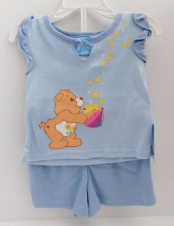 Care Bears Friend Bear Blue 2-piece top and shorts set for Girls Size 2T NWT