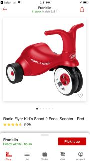 Radio Flyer scoot 2 pedal scooter