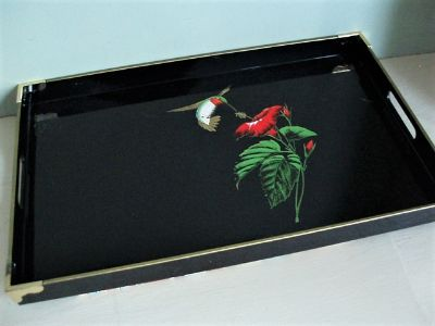 Otagari Black Lacquer Japanese Serving Tray