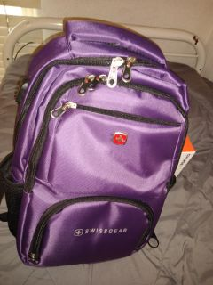 Purple, Swiss gear, laptop and book backpack