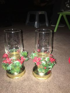 2 Christmas candle holders.