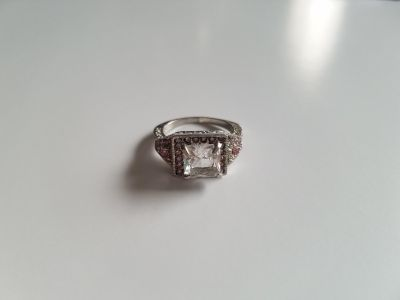 Pink & Crystal Topaz Sterling Silver Ring - Size 7.5