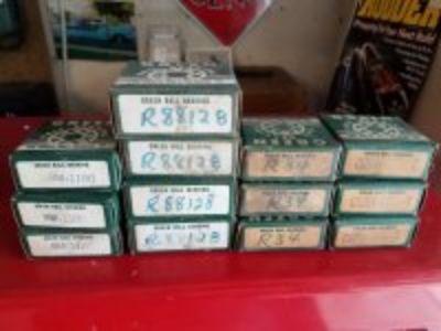 Lot of Vintage New Old Stock Green Ball Bearings Wheel Bearings 3 Sizes