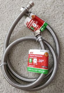 "TWO steel braided water supply line hoses (30"" + 24"") ~ sink & dishwasher 3/8 comp x 1/2 FIP ends"