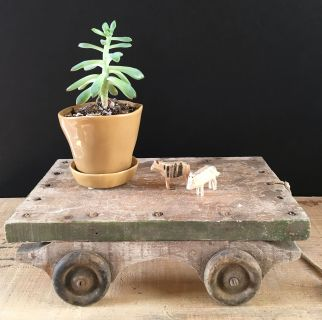 Vintage handmade wood pull toy, plant stand