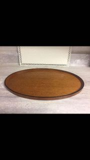 """REDUCED Vintage Mid Century Modern Oval Wood Tray 18""""X11"""" CP."""