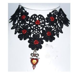 Victorian Gothic Choker Necklace Earrings and Gloves SET