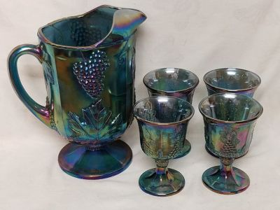 Vintage Carnival Glass Pitcher and Goblets