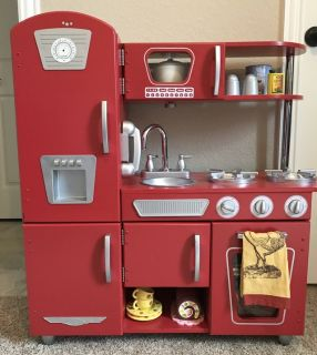 Kid Craft Vintage Play Kitchen-Fully Stocked (Food, Dishes, Pots & Pans + Extras)