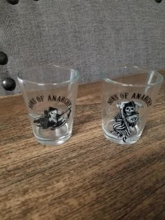 Set of 2 Son's of Anarchy Shot Glasses EUC
