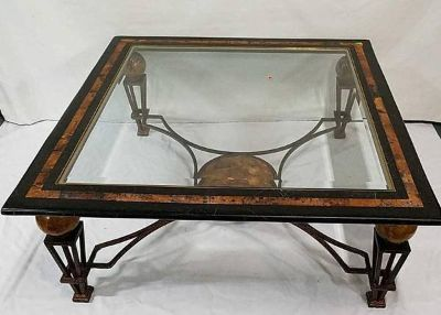 Collezione Europa Wrought Iron Coconut Shell Coffee Table - Delivery