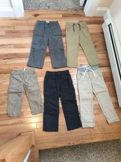 Pants Lot. All Size 4t. All New without Tags. Top Row 1 Old Navy & 1 Baby Gap (Both are Jersey Lined). Bottom Row 1 Carter s, 2 Old Navy.