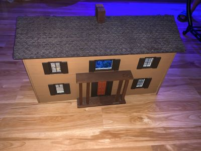 Wood doll house with accessories