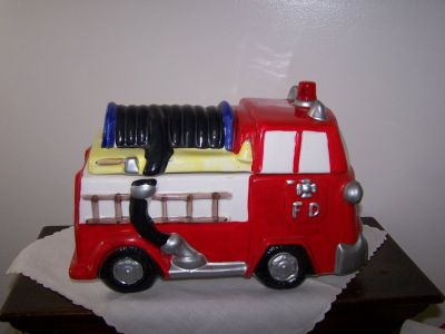 Fire Truck Cookie Jar with Siren Noise