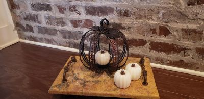 """Metal Bronze Fall Pumpkin TeaLight Candle Holder. Has Metal Tag that says """"Give Thanks"""". Comes with 3 White Pumpkin Candles."""