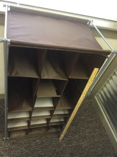 Click photo and scroll right for measurements and more photos. Portable, free standing, closet organizing shelf, $7