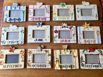 12 Calendar/Month Birthday/Anniversary Wood Painted Picture Frames Wall Decor