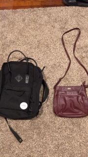 Backpack/duffle bag and crossbody purse sold as set $5.00