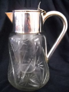 Sliver German Etched Grapevine Crystal Carafe Decanter & Wine-Cooler
